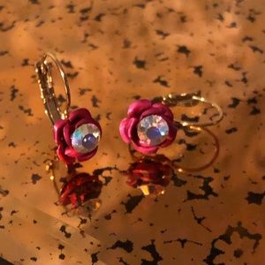 Betsey Johnson Rose and Rhinestone Drop Earrings